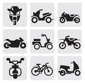 Jeu de motos et vélos — Vecteur
