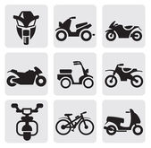 Motorcycles and bicycles set — Stock Vector