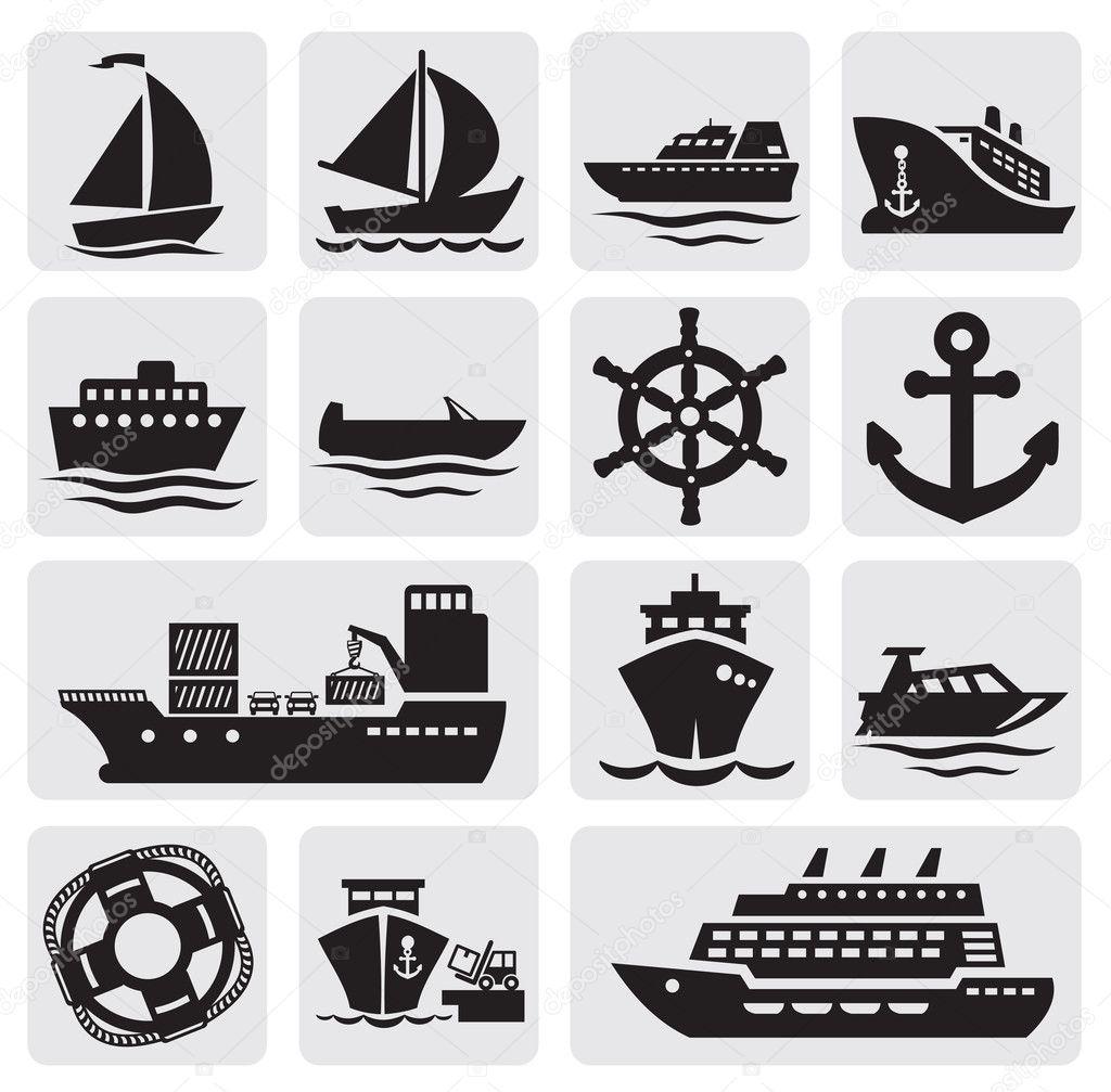 矢量黑不同类型的小船在灰色 — 矢量图片作者 bioraven