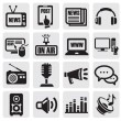 Media icons set — Imagen vectorial