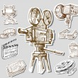 Movie camera-hand drawn — Vettoriali Stock