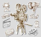 Movie camera-hand drawn — Stock Vector