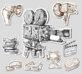 Film kamera-elle çizilmiş — Stok Vektör