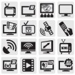 TV technology set - Stock Vector