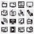 Stock Vector: TV technology set