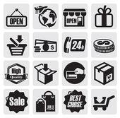 Winkelen pictogrammen — Stockvector