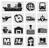 Icone di trasporto e carico — Vettoriale Stock