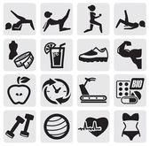 Set di fitness e sport — Vettoriale Stock