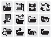 Folder icons set — Vector de stock