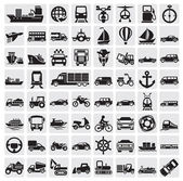 Big transportation icon set — ストックベクタ