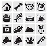 Kediler ve köpekler seti — Stok Vektör