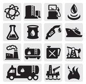 Iconos de aceite y gasolina — Vector de stock