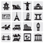 Travel and landmarks set — Vector de stock