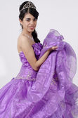 Young Girl in a Purple Dress — Stock Photo