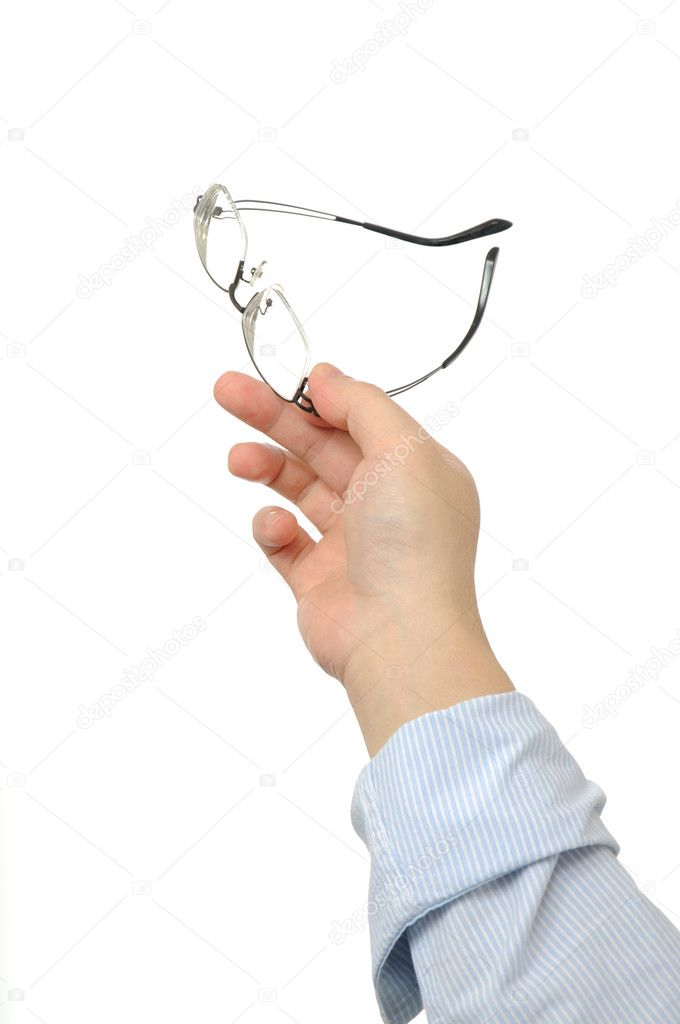 Business man holding eyeglasses with white copyspace — Stock Photo #11296653