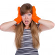 Crazy girl with orange mittens — Stock Photo