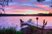 Sunrise on lake — Stock Photo
