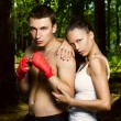 Fashion photo of young man and woman — Stock Photo