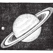 Постер, плакат: Comparison of the sizes of Saturn and Earth vintage engraving