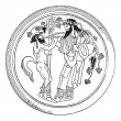 Satyr and Dionysus vintage engraving - ベクター素材ストック