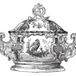 Tureen, a serving dish for food, vintage engraving. - Stockvektor