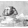 Royalty-Free Stock Vector Image: Sphinx, near the ruins of Memphis, Egypt, vintage engraving.