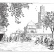 Street of the Great Mosque, Tlemcen, Algeria, vintage engraving. — Stock Vector