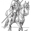 Templar on horse, vintage engraving. — 图库矢量图片
