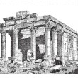 Temple of Diocletian, Palmyra, Syria, vintage engraving. — Stock Vector