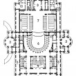 Plan of theater of opera, Paris, vintage engraving. — Векторная иллюстрация