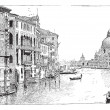 Royalty-Free Stock Vector Image: View of the Grand Canal, Venice, vintage engraving.