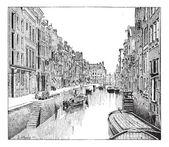 Boerensteiger v historických engravi rotterdam, nizozemsko — Stock vektor