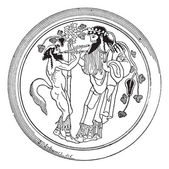 Satyr and Dionysus vintage engraving — Cтоковый вектор
