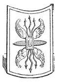 Shield, vintage engraving — Stock Vector