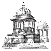 Indian tomb, vintage engraving. — Vector de stock
