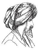 Afghan Turban, vintage engraving — Stock Vector