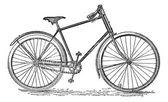 Bicicleta velocípedo, vintage grabado. — Vector de stock