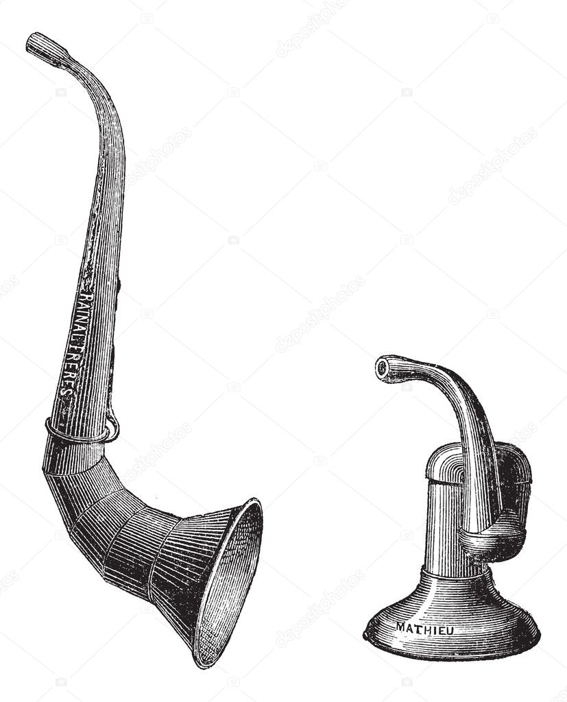 Ear trumpets, vintage engraved illustration. Usual Medicine Dictionary by Dr Labarthe - 1885. — Stock Vector #10995212