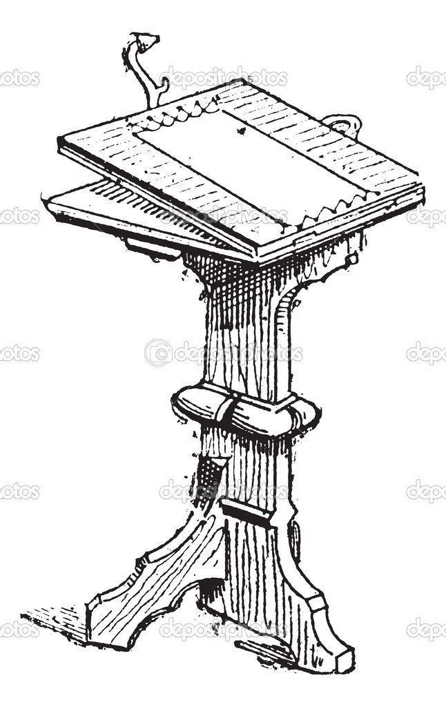 Pedestal Table, during the 15th Century, vintage engraved illustration. Dictionary of Words and Things - Larive and Fleury - 1895  Stock Vector #10995569