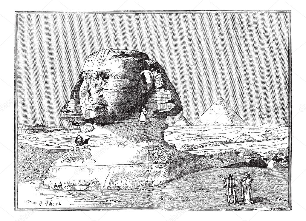 Sphinx, near the ruins of Memphis, Egypt, vintage engraved illustration. Dictionary of words and things - Larive and Fleury - 1895. — Stock Vector #10996391