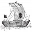Chinese junk, an ancient sailing vessel, vintage engraving. -  