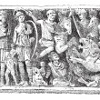 Bas-relief of a sarcophagus Jovin reims, vintage engraving. -  