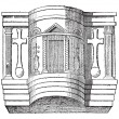 Stock Vector: Pulpit of Cathedral of Ravenna, vintage engraving.