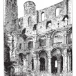 Ruins of the Abbey of Jumieges, vintage engraving. — Stock Vector