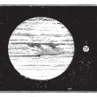 Vector de stock : Jupiter and Earth, dimensions compared, vintage engraving.