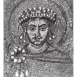 Justinian mosaic, vintage engraving. -  