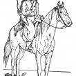 Kalmuck or Kalmyk archer on horse, vintage engraving. - Image vectorielle