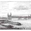 Kehl bridge, vintage engraving. -  