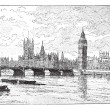 Westminster Bridge and the Houses of Parliament, London, England - Stock Vector