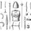 Stock Vector: French Armor and Weapons During Younger Bronze Age, vintage